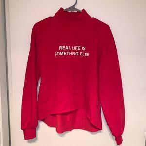Zara Red Graffiti Sweater